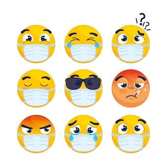 Establecer emojis con máscara médica, caras emojis con iconos de máscara quirúrgica, diseño de ilustración vectorial