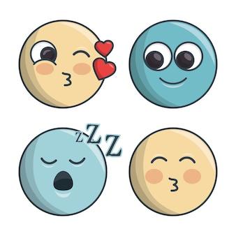 Establecer emoticones diferentes sentimientos y expresiones