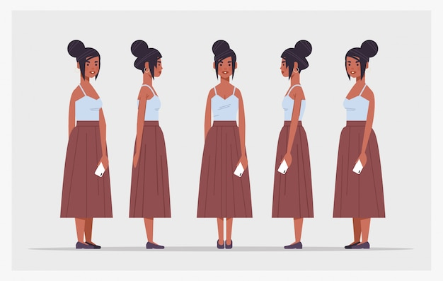 Establecer empresaria afroamericana con smartphone vista lateral frontal personaje de dibujos animados femenino