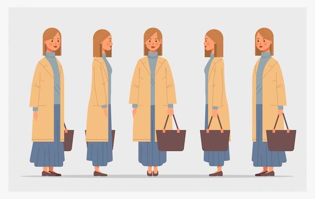 Establecer empresaria con bolso frontal vista lateral personaje femenino diferentes vistas para animación horizontal de longitud completa