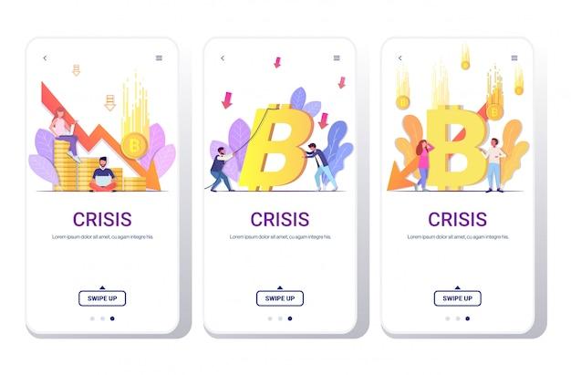 Establecer empresarios frustrados por la caída del precio bitcoin colapso de la moneda criptográfica cayendo flecha flecha crisis financiera concepto de bancarrota colección de pantallas de teléfono espacio de copia de longitud completa