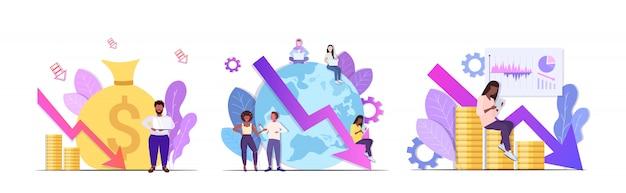 Establecer empresarios frustrados por la crisis financiera quiebra inversión riesgo concepto mezclar raza colegas lluvia de ideas detener flecha económica cayendo horizontal de longitud completa