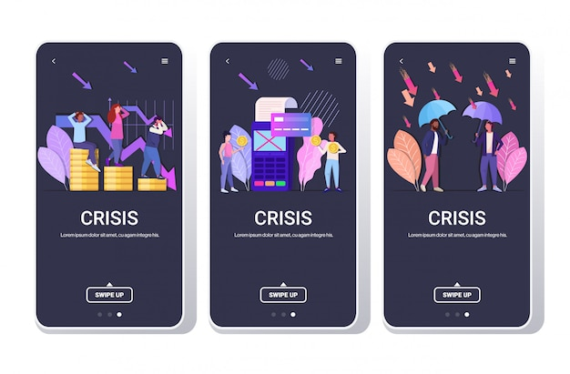 Establecer empresarios frustrados por la crisis financiera rechazó la transacción de pago conceptos de protección empresarial colección de pantallas de teléfono de larga duración aplicación móvil horizontal