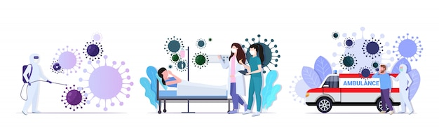Establecer la epidemia de las células de coronavirus virus mers-cov influenza flotante de la gripe propagación de la colección de conceptos mundiales wuhan 2019-ncov riesgo de salud ilustración vectorial de longitud completa