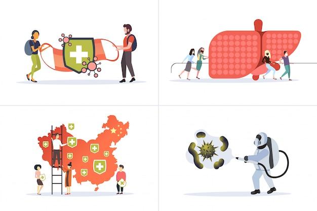 Establecer la epidemia de infección por coronavirus mers-cov wuhan 2019-ncov pandemia de colección de conceptos de riesgo para la salud horizontal