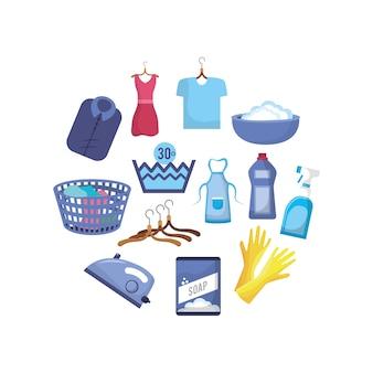 Establecer el equipo de lavandería para lavar la ropa