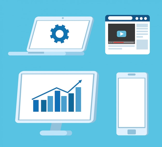 Establecer equipos de tecnología electrónica, computadora portátil, computadora, teléfono inteligente y página web