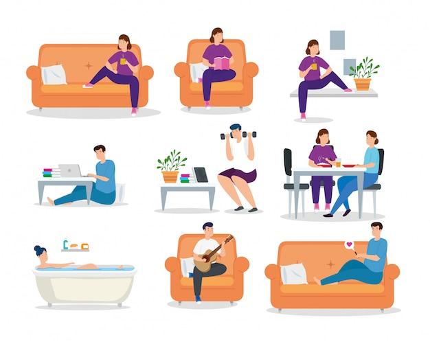Establecer escenas campaña quedarse en casa con personas diseño de ilustración vectorial