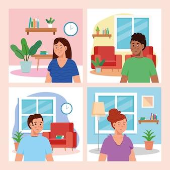 Establecer escenas de la casa de los jóvenes en el interior.