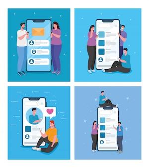 Establecer escenas de chat en línea en teléfonos inteligentes de jóvenes, concepto de redes sociales