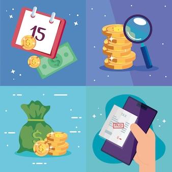 Establecer escenas del día de impuestos e íconos