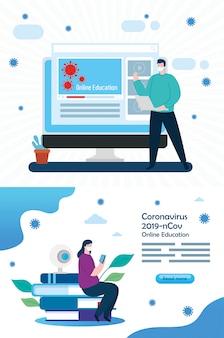 Establecer escenas de educación en línea para 2019-ncov con pareja e íconos