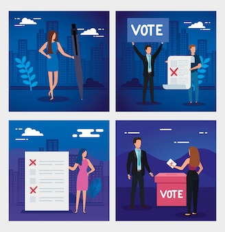 Establecer escenas de gente de negocios para votar