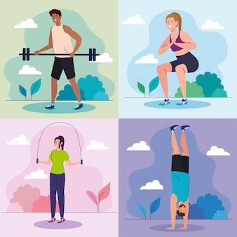 Establecer escenas de jóvenes practicando ejercicios al aire libre, recreación deportiva
