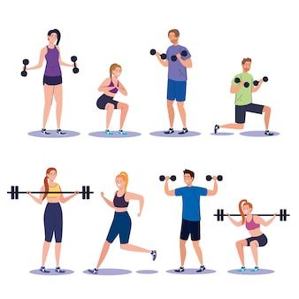 Establecer escenas de jóvenes practicando ejercicios, concepto de recreación deportiva