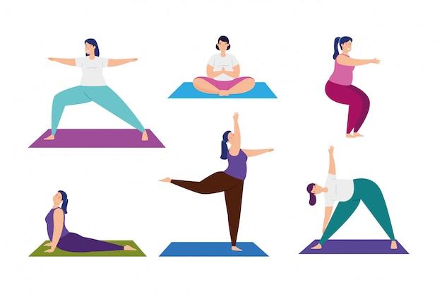 Establecer escenas de mujeres practicando yoga, ilustración, diseño