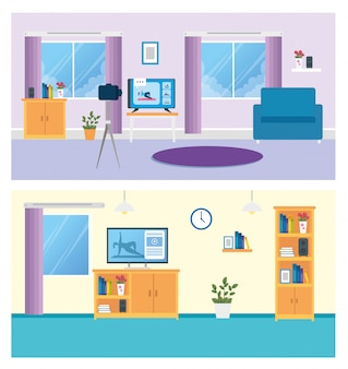 Establecer escenas de sala de estar con muebles y decoración.