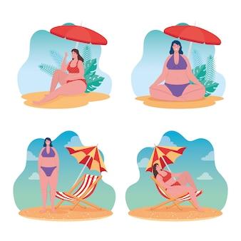 Establecer escenas de verano, lindas mujeres regordetas con traje de baño, mujeres en la playa, diseño de ilustración de vector de temporada de vacaciones de verano