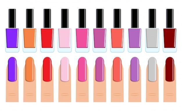 Establecer esmalte de uñas y uñas