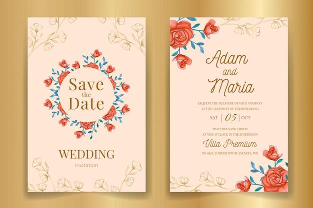 Establecer el esquema floral clásico dibujado a mano acuarela diseño de invitación de boda de lujo o plantillas de tarjeta para boda