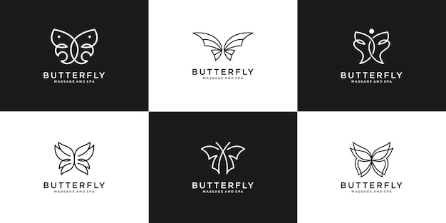 Establecer estilo de arte de línea de mariposa de belleza de colección. diseño de logotipo para femenino, salón, spa.