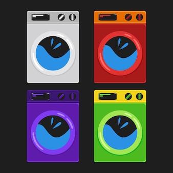 Establecer la etiqueta engomada de la lavadora o la ilustración de la insignia