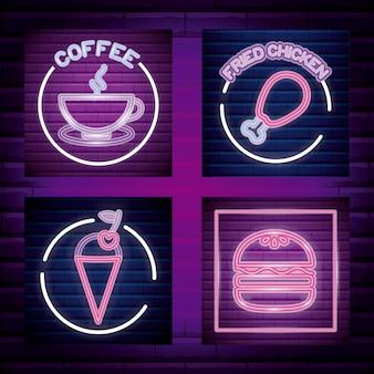 Establecer etiqueta de luz de neón de comida rápida y bebida