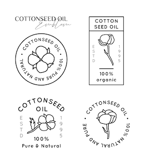 Establecer etiquetas e insignias de revestimiento de aceite de semilla de algodón puro - vector iconos redondos, pegatinas, sellos, etiquetas flores de algodón aisladas sobre fondo blanco - logos de aceite orgánico natural.