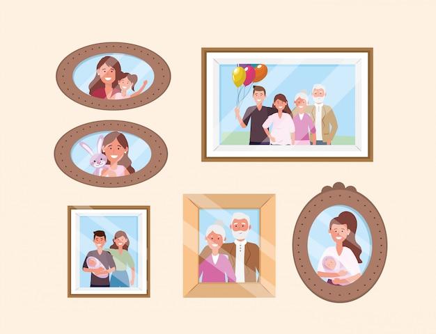 Establecer feliz familia fotos recuerdos decoración