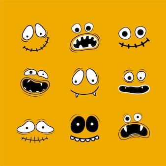 Establecer para feliz halloween. caras sonrientes aterradoras y divertidas de halloween con mandíbulas, dientes y bocas abiertas. personaje de dibujos animados divertido fantasma, monstruo, jack skellington, calabaza. ilustración dibujada a mano