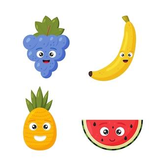 Establecer feliz lindo sandía, piña, uva y plátano para niños en estilo de dibujos animados aislado en blanco