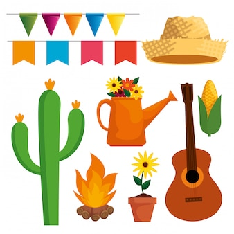 Establecer festa junina celebración con decoración de fiesta