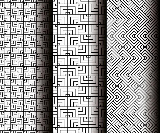 Establecer figuras geométricas en patrones grises sin costura