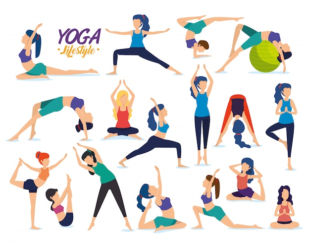 Establecer fitness mujeres practican postura de yoga