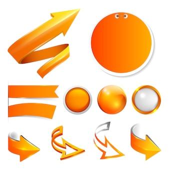 Establecer flechas de color naranja, etiquetas y pegatinas, botones.