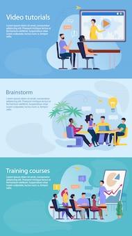Establecer folleto informativo escrito brainstorm flat