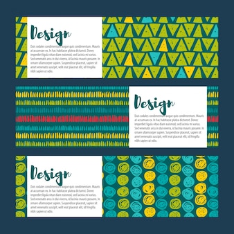 Establecer fondos vector hipster en azules y verdes. estilo dibujado a mano
