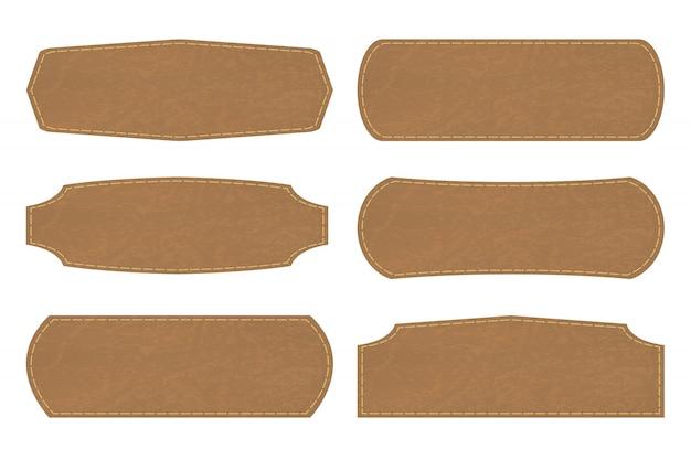 Establecer formas de etiquetas de signos de cuero o etiqueta de cuero