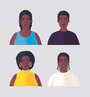 Establecer fotografías de jóvenes africanos.