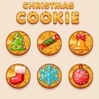 Establecer galletas de navidad de dibujos animados, iconos de comida de galletas