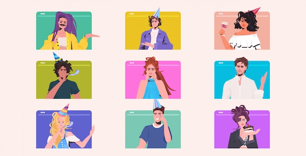Establecer la gente celebrando la fiesta de cumpleaños mezcla raza hombres mujeres divirtiéndose celebración concepto navegador web colección de ventanas vertical ilustración horizontal