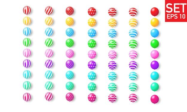 Establecer globos de colores, confeti concepto diseño plantilla vacaciones feliz día