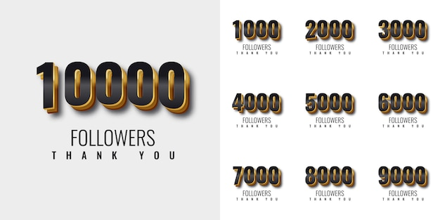 Establecer gracias 1000 seguidores a 10000 seguidores diseño de plantilla de número de oro