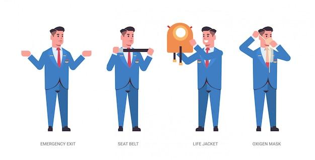 Establecer la guía del administrador explicando las instrucciones con el chaleco salvavidas, la salida de emergencia del cinturón de seguridad y la máscara de oxígeno auxiliar de vuelo masculino en concepto de demostración de seguridad uniforme de longitud completa horizontal