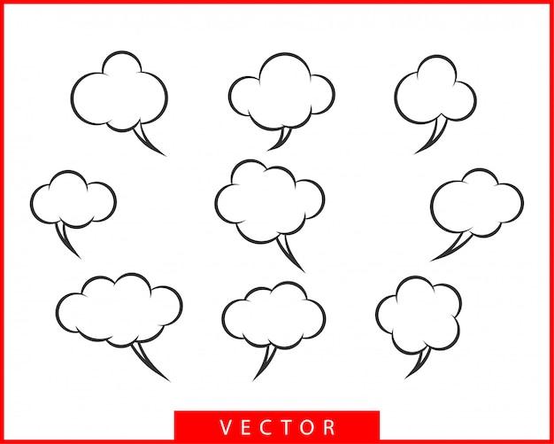 Establecer hablar burbujas discurso. elementos de diseño de icono de burbuja vacía en blanco. chat en línea plantilla de símbolo. colección diálogo pegatinas globo silueta.