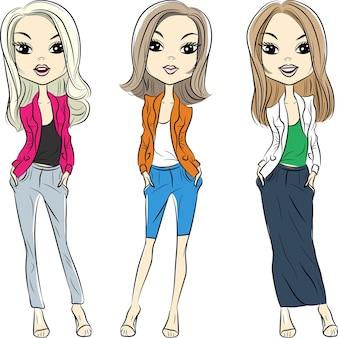 Establecer hermosas chicas de moda top model en trajes