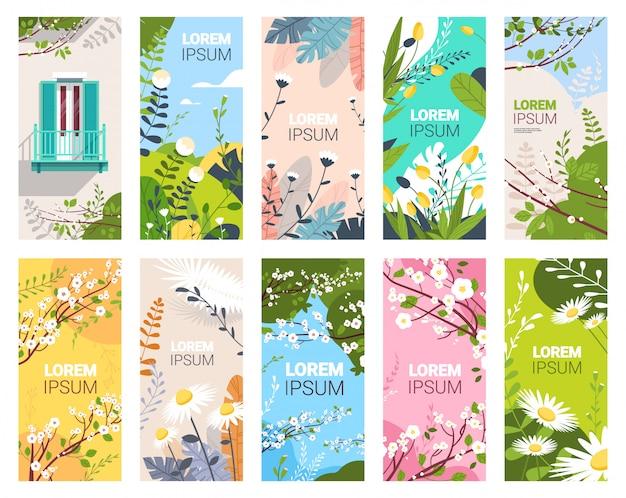 Establecer hermosas flores y hojas florales primavera carteles colección vertical tarjetas de felicitación