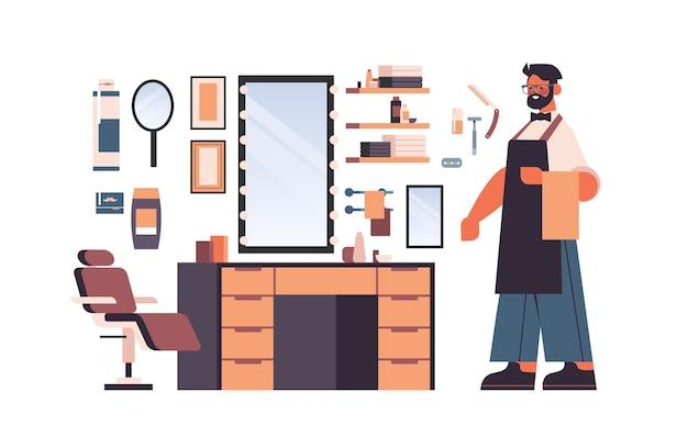 Establecer herramientas y accesorios de peluquería con carácter de peluquero masculino en uniforme de afeitado y colección de equipos de peluquería aislado ilustración vectorial horizontal