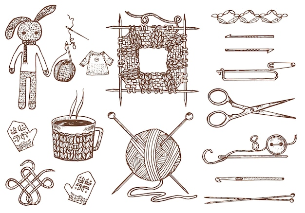 Establecer herramientas para tejer o crochet y materiales o elementos para costura. club de costura. hecho a mano para bricolaje. sastrería. hilo y lana natural de oveja casera, enredada con agujas. grabado dibujado a mano.