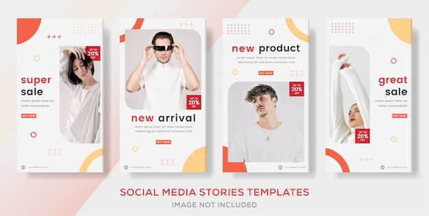 Establecer historias de banner geomatric para la venta de moda.
